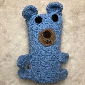 Knit Bear Baby Blanket Blue